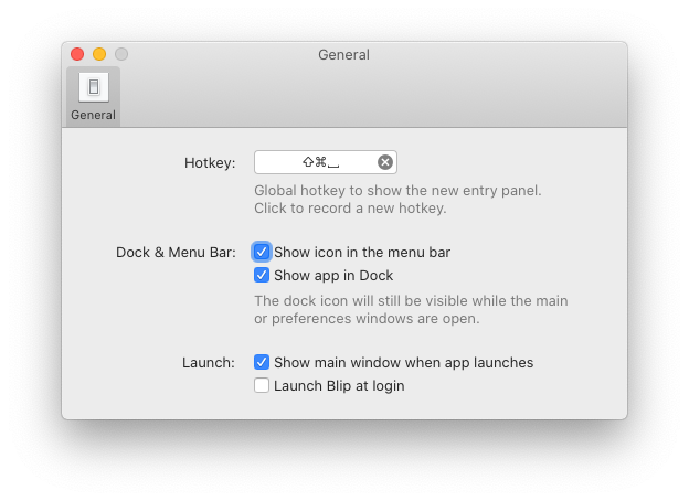 showing various preferences for the Blip application like setting a global hotkey, launching the app on login, etc.
