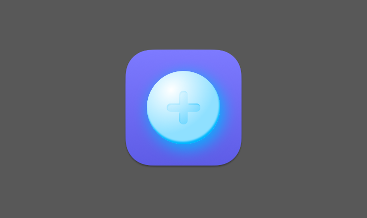 a round, very shiny, blue-ish button with a plus sign engraved on it with a purple background making up an app icon