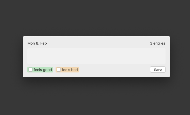 the blip new-entry window with a textbox an up and downvote button as well as a save button