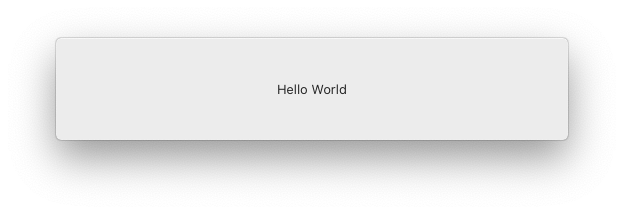 screenshot showing the final result of this post, a floating panel with hello world written on it