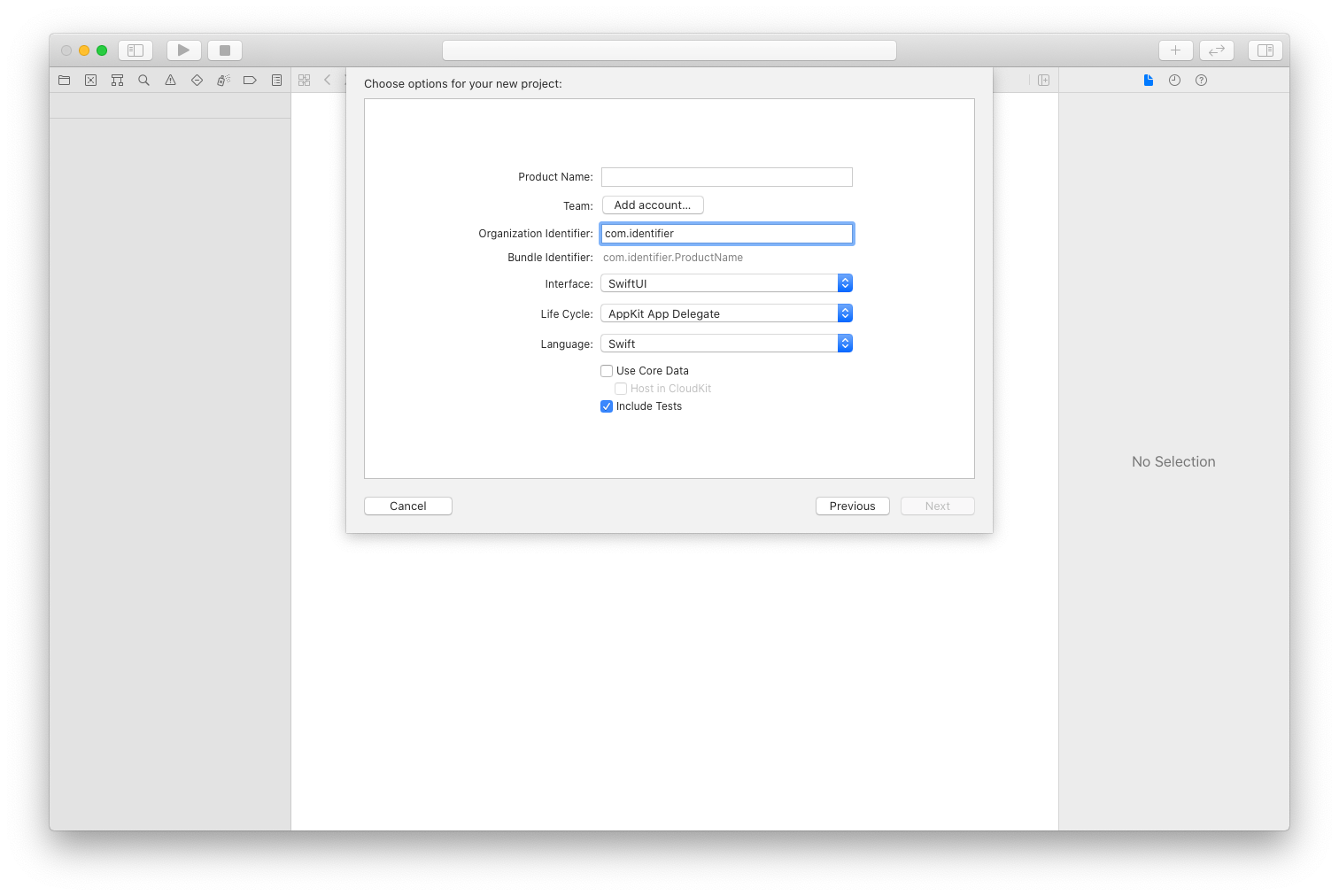 screenshot showing the new project creation screen of XCode with the selection mentioned in the previous paragraph
