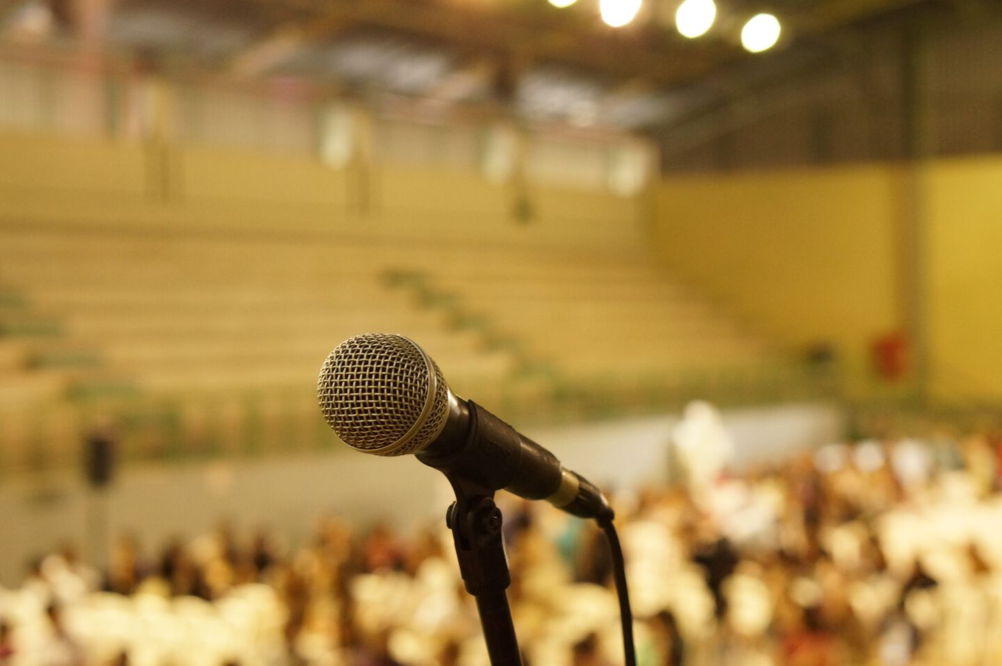 microphone with an audience in the background